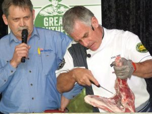 NSW DPI meat scientist David Hopkins left wioth MLA butcher Doug Piper at Lambex 2016.