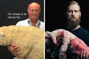 WA Farmers president Dale Park, left, and PETA activist Jon Weinhofen.