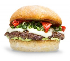 US chain, Burger Lounge's Mexican-inspired lamb burger.