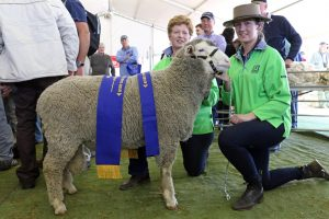 Fiona and Isobelle Cameron, Koonik Dohnes, Nurcoung, Victoria, with their junior champion ram at 2016 Australian Sheep and Wool Show, Bendigo.