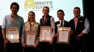 The Australian White Suffolk Association's Lambex Young Guns winners, from left, Steve Connaughton, Laura Wishart, Elise Bowen and Charlie Shadwell, with AWSA councillor Andrew Heinrich.
