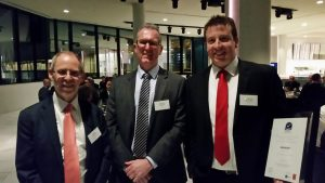 National Council of Wool Selling Brokers of Australia executive director Chris Wilcox, left, NCWSBA president Simon Hogan, and broker of the year Lachlan Dutton at the Wool Week dinner.