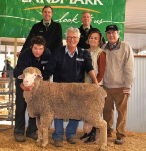 With the $10,000 at the Leahcim Poll Merino ram sale are Landmark auctioneers Richard Miller and Gordon Wood, and in thr front, from left, Alistair and Andrew Michael, and purchasers, Ada and Pepe Marin, Punta Arenas, Chile.